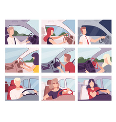 People driving cars collection female and male vector