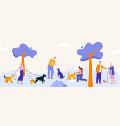 people pastime with dogs at city park walking vector image