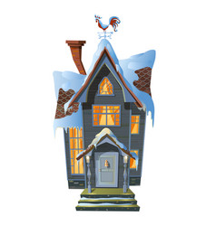 Picture of colonial house in winter snow vector
