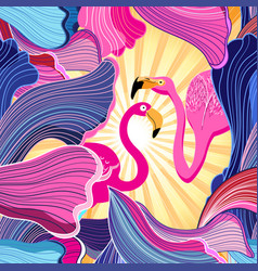 Pink flamingos and abstraction vector