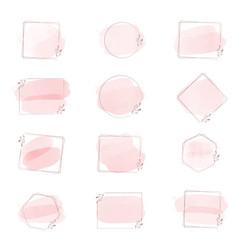 Pink watercolor brush stroke splash with vector