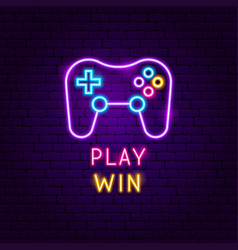Play win neon label vector