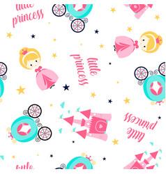 princess and icons seamless pattern hand drawn vector image