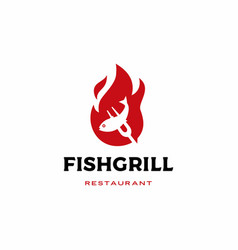 Roasted fish grill logo icon vector