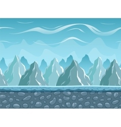 Seamless cartoon landscape with mountains vector image