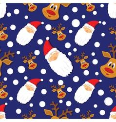 Seamless Christmas pattern with Santa Clausdeer vector image