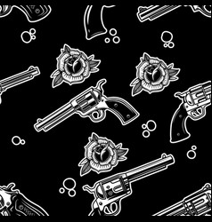 seamless pattern with revolvers and roses design vector image