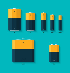 set batteries different sizes aaaa aaa d vector image