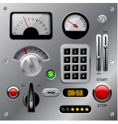 Set of meters buttons and other machinery parts vector
