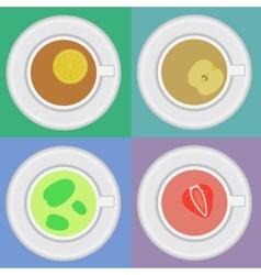 Set of tea cups with mint lemon apple vector image
