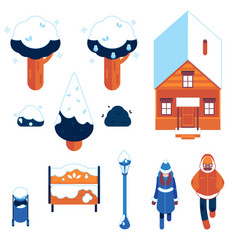 set of winter city elements in vector image