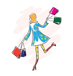 Shopping woman with shopping bags vector image
