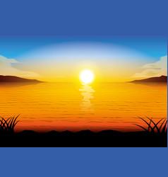 Silhouette sea sunset vector