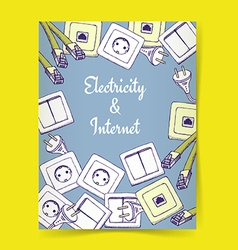 Sketch electricity and internet vector image