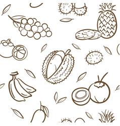 sketch mix tropical thai fruits seamless vector image