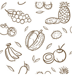 sketch of mix tropical thai fruits seamless vector image