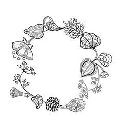 sketched vintage floral border vector image