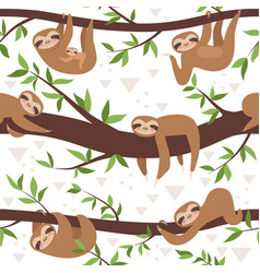 Sloth seamless cute little sleepy baby animal vector
