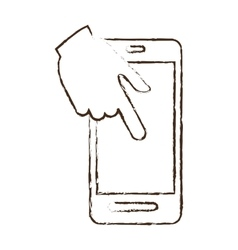 Smartphone hand touch payment digital sketch vector