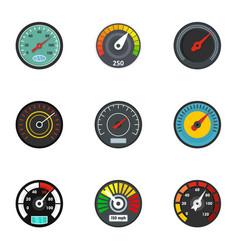 speedometer icon set flat style vector image