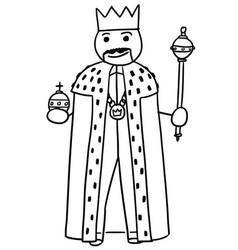 Stickman cartoon king posing with crown vector