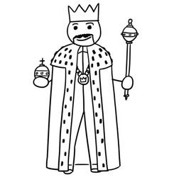 Stickman cartoon of king posing with crown vector