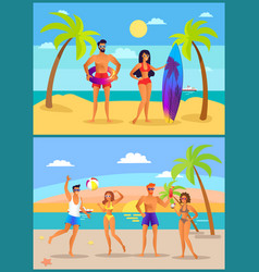 summer and active people vector image