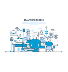 Teamwork partners colleague business people vector