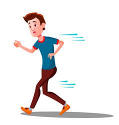 Teen boy runinng away in panic isolated vector