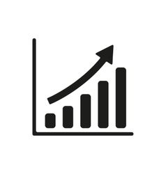 The growing graph icon Progress symbol Flat vector