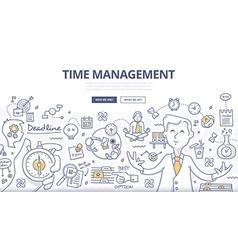 Time management doodle concept vector