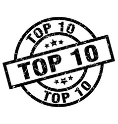 Top 10 round grunge black stamp vector