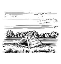 tourist tent on shore sketch vector image