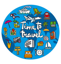 travel concept icon with lettering vector image