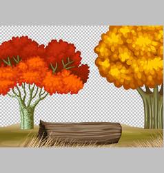 Two big tree in autumn transparent scene vector