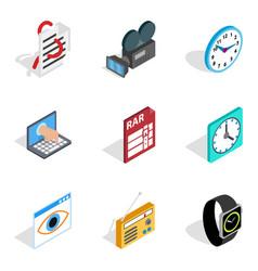 Video hardware icons set isometric style vector