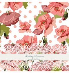 Vintage poppy flowers Wedding card vector image