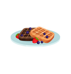 Waffles with blueberry and strawberry food for vector