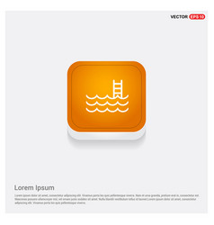 water pool icon orange abstract web button vector image
