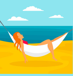 woman beach hammock concept background flat style vector image
