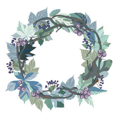 wreath with leaves and berries vector image