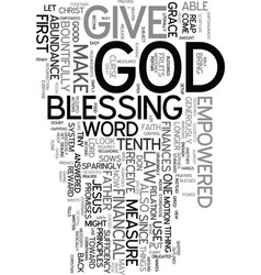 you are empowered by god in your finances text vector image