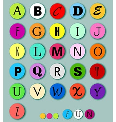 Alphabet on multicolor circles vector image