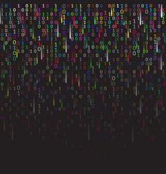 binary code colored and dark background with vector image vector image