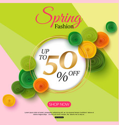 spring fashion sale banner with paper flowers for vector image vector image