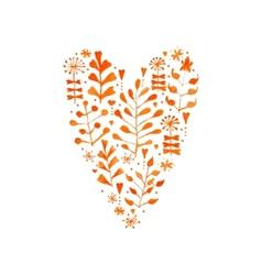 Watercolor Floral Heart vector image vector image