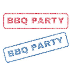bbq party textile stamps vector image