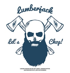 Lumberjack Skull with beard and Crossed Axes vector image vector image