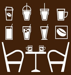 Set of drinks in coffee shop vector image