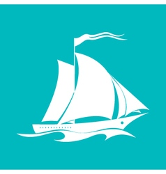 Yacht Isolated on Green vector image vector image